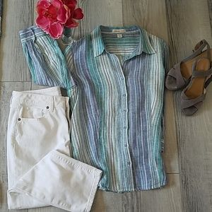Cold water Creek Blue Striped Linen M